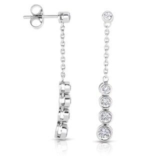 Eloquence 14k White Gold 3/4ct TDW Diamond Dangle Earrings (H-I, I1-I2)