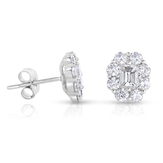 14k White Gold 1 3/5ct TDW Diamond Stud Earrings (H-I, I1-I2)