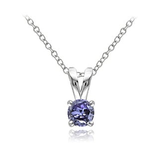 Glitzy Rocks Sterling Silver Tanzanite Solitaire Necklace