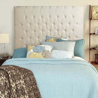 Humble + Haute Halifax Ivory Linen Tall Queen Diamond Tufted Upholstered Headboard