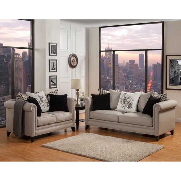 Shop Furniture Of America Annetta Neutral 2 Piece Sofa And