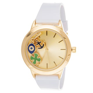 Fortune NYC LAdies Boyfriend Floating anchor, eye Gold Case with White Rubber Strap Watch