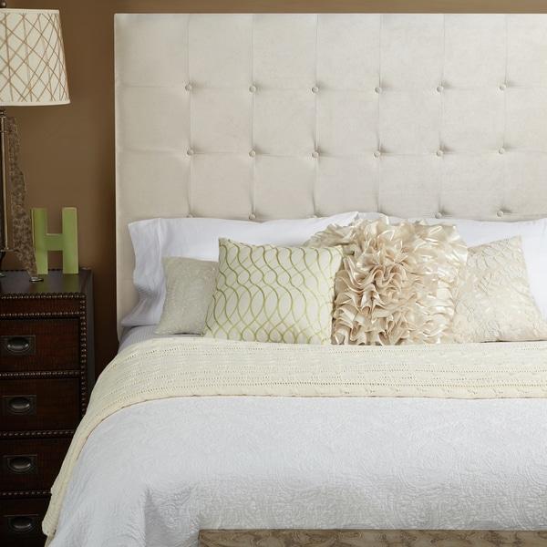 ... Haute Stratton Velvet Ivory Tall Queen Tufted Upholstered Headboard