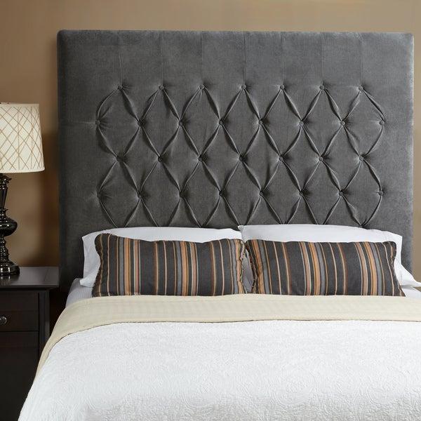Humble + Haute Halifax Velvet Grey Tall Queen Diamond Tufted Upholstered Headboard