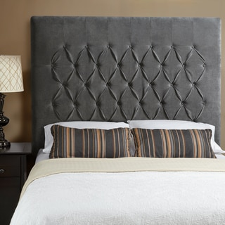 Humble + Haute Halifax Velvet Grey Tall Queen Diamond Tufted Upholstered Headboard