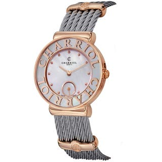 Charriol Women's ST30PC.560.020 'St Tropez' Mother of Pearl Dial Stainless Steel Two Tone Swiss Quar|https://ak1.ostkcdn.com/images/products/9991162/P17141475.jpg?impolicy=medium