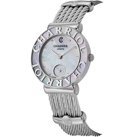 Charriol Women's ST30SC.560.019 'St Tropez' Mother of Pearl Dial Stainless Steel Swiss Quartz Watch