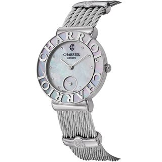 Charriol Women's 'St Tropez' Mother of Pearl Dial Stainless Steel Swiss Quartz Watch