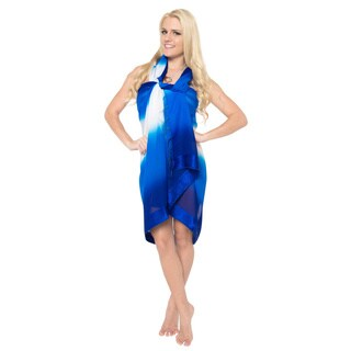 La Leela White/ Blue Beach Sheer Chiffon Swim Hawaiian Sarong Wrap Tunic
