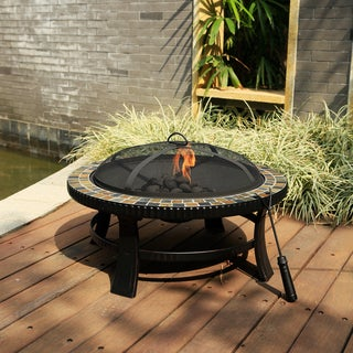 Corvus Azore 30-inch Round Fire Pit with Slate Top and Hand-painted Brushed Bronze Finish