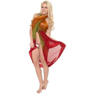 La Leela Gradient Color Jacquard Border Swim Hawaiian Sarong Wrap Cover up Tunic