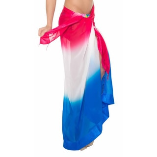 La Leela Multicolor Chiffon Gradient Jacquard Border Swim Hawaiian Sarong Cover up Wraps Tunic
