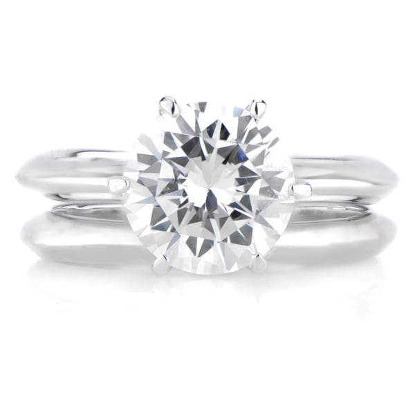 Sterling Silver Round-cut Cubic Zirconia Bridal Ring Set