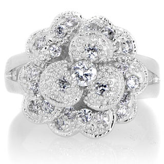 Sterling Silver Cubic Zirconia Pave Layered Flower Cocktail Ring