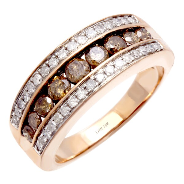 10k Rose Gold 1ct TDW Champagne and White Diamond Ring (H-SI) Size 6 ...