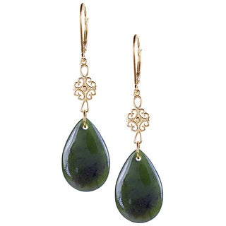 14k Yellow Gold Pear-shaped Jade Dangle Earrings