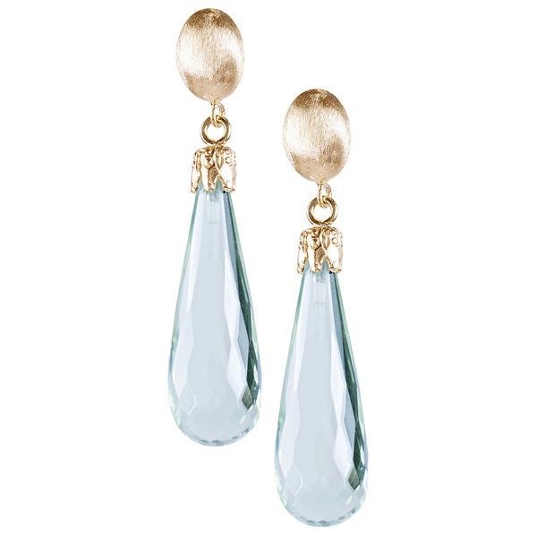 14k Gold Green Amethyst Tear Drop Earrings