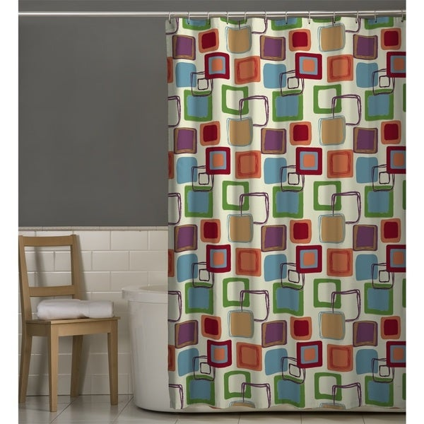 Maytex Squares Fabric Shower Curtain