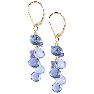 14k Gold Swiss Blue Topaz Dangle Earrings