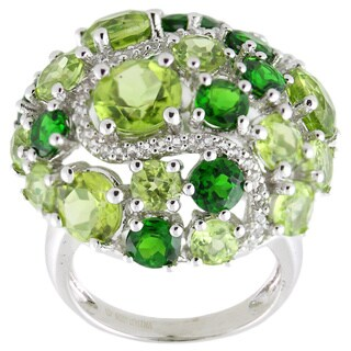 Sterling Silver 10.82ctw Peridot, Chrome Diopside and White Topaz Ring