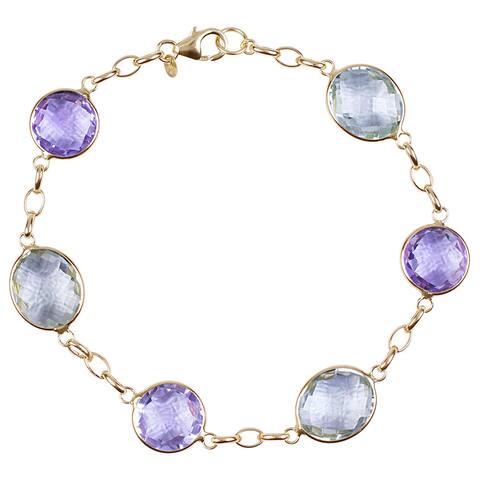 14k Gold Green/ Pink Amethyst Bracelet - Purple