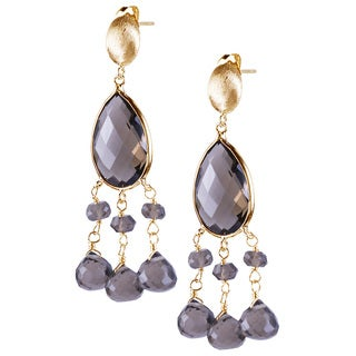 14k Yellow Gold Faceted Pear-cut Smoky Quartz Earrings