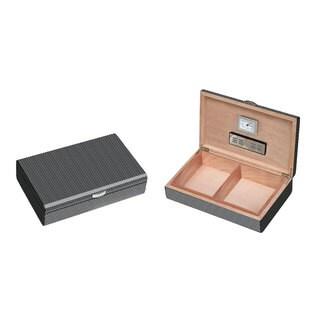 Visol Carbon Fiber Pattern Lacquered Medium Cigar Humdior (Holds 50 Cigars)