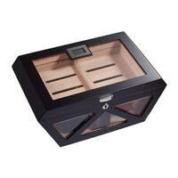 Visol Collin Matte Black Glass Top Cigar Humidor (Holds 100 Cigars)