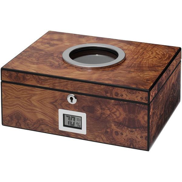 Visol PortHole Burlwood Finish Cigar Humidor (Holds 75 Cigars)