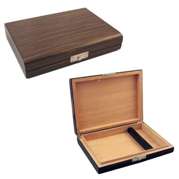 Visol Ebony Wood Travel Cigar Humidor with Humidifier
