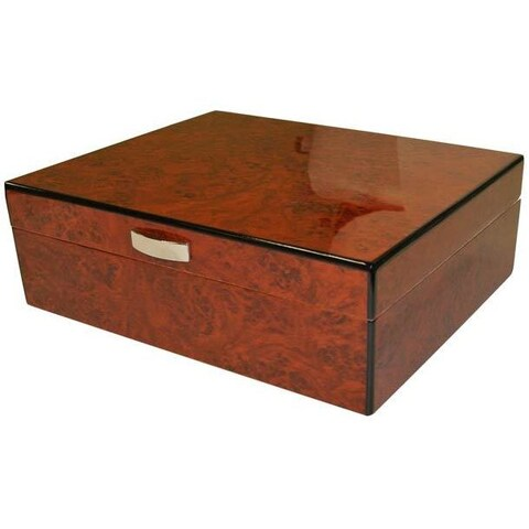 Visol Cedrik Polished Burl Finish Humidor (Holds 25 Cigars)