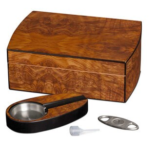 Visol Matte Walnut Cigar Humidor Gift Set with Cutter and Ashtray