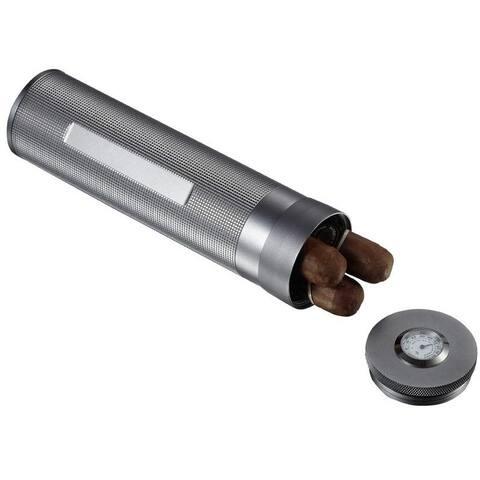 Visol Sterling Gun Satin Travel Cigar Humidor (Holds 3 Cigars)