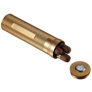 Visol Gold finish Travel Humidor (Holds 3 Cigars)
