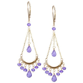 14k Gold Amethyst Chandelier Earrings