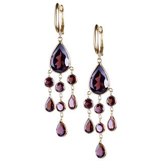 14k Yellow Gold Garnet Chandelier Earrings