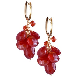 14k Gold Red Pear-cut Carnelian Earrings