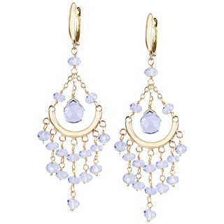 14k Yellow Gold Aquamarine Chandelier Earrings