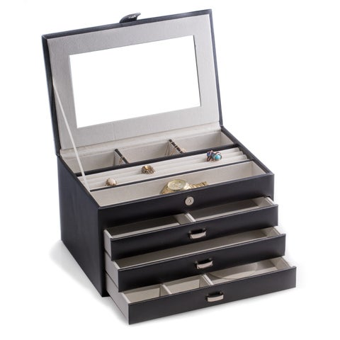 Bey Berk 'Leslie' Black Leather Jewelry Box