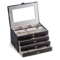 Bey Berk 'Leslie' Black Leather Jewelry Box