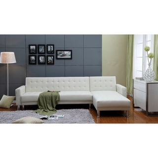 the-Hom Marsden 2-piece White Tufted Bi-cast Leather Sectional Sofa Bed