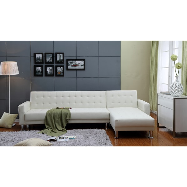 the-Hom Marsden 2-piece White Tufted Bi-cast Leather Sectional Sofa Bed  sc 1 st  Overstock.com : white sectional sofa bed - Sectionals, Sofas & Couches