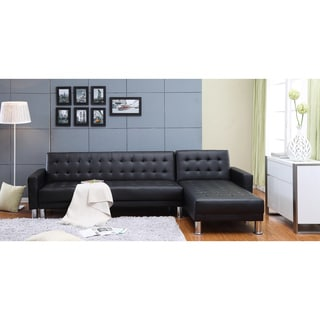 the-Hom Marsden 2-piece Black Tufted Bi-cast Leather Sectional Sofa Bed