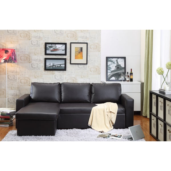 the-Hom Georgetown 2-piece Brown Bi-cast Leather Sectional Sofa Bed with  sc 1 st  Overstock.com : leather sectional sofa bed - Sectionals, Sofas & Couches