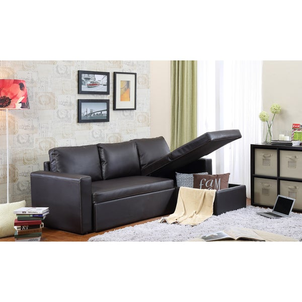 The Hom Georgetown 2 Piece Brown Bi Cast Leather Sectional Sofa Bed With Storage