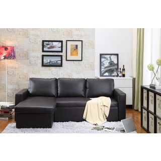 the-Hom Georgetown 2-piece Brown Bi-cast Leather Sectional Sofa Bed with Storage