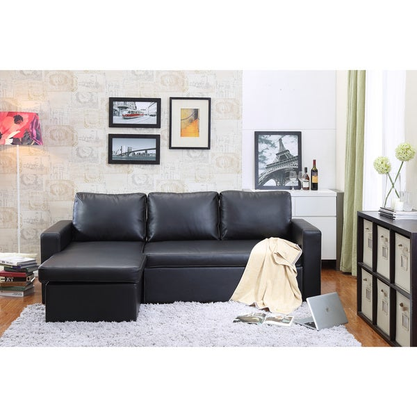 Charmant The Hom 2 Piece Black Georgetown Bi Cast Leather Sectional Sofa Bed With