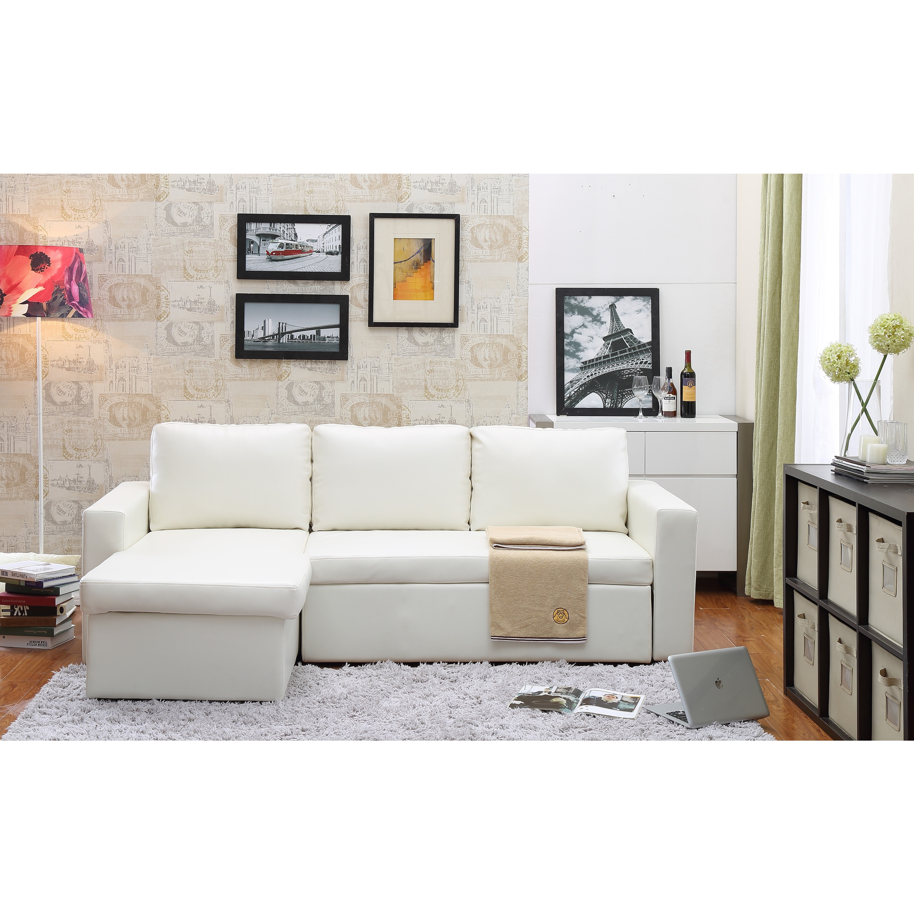 White Leather Sectional Sofa Bed: The-Hom Georgetown 2-piece White Bi-cast Leather Sectional