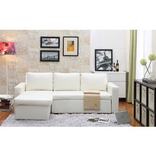 The Hom Georgetown 2 Piece White Bi Cast Leather Sectional Sofa Bed With