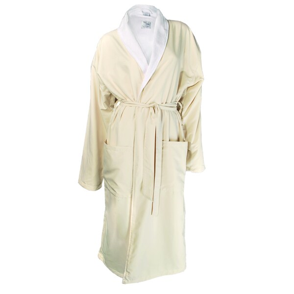 Luxury Beige and Champagne Micro-fiber Bathrobe with Cotton Terry Inside and Shawl Collar